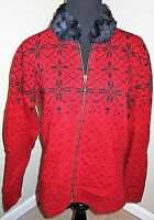 Maurices Red & Black Fur Collar Zip-Front Cardigan Sweater Size 8 Misses EUC