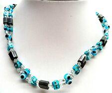 "Bead Hematite 36"" Necklace! 6571K Stunning Vintage Estate Evil Eyes Glass"