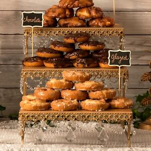 3-TIER DESSERT PLATTER Metal Crystal Wedding Event Party Cupcake Display Stand