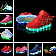 Boys & Girls LED Light Up Luminous Sneakers Kids Casual Shoes with Wings - New