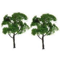 2Pc Metal Wire 12cm Green Tree Models HO 1:75 Layout for Park Garden Scenery
