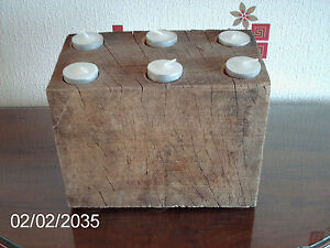 LARGE WOODEN  RUSTIC TOTALLY ORIGINAL OAK TEA LIGHT HOLDER FREE DELIVERY