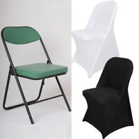 1-100PCS Spandex Fitted Folding Chair Cover Dinning Event Slipcover for Wedding