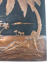 Vintage sexy island girl Copper Pressed Picture palm tree hawiian retro 70s art