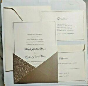 Celebrate It Gold Glitter Wedding Invitation Print at Home Kit 30 Complete Sets