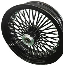 "Black/Black Ultima 48 King Spoke 16"" x 3.5"" Rear Wheel for Harley and Models"