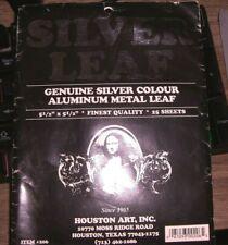 "Genuine Silver Colour Aluminum Metal Leaf 5-1/2"" x 5-1/2"" 25 Sheets"