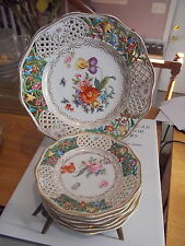 SCHUMANN Bavaria Dresden Reticulated Dessert Set-7 Pieces-Green Panels