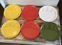 "Set 6 Vintage Mid Century Kenro Multi Color Divided Plates 9"" Retro Melamine"
