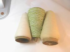 Extrafine Wool Yarn Cone Lot of 3 Mohair Green Ivory Off White