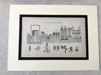 1880 Aufdruck Viktorianisch Gas Herstellung Pflanze Industrielle Design Fabrik