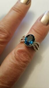 2.50 CTW GENUINE DIAMOND & CREATED LONDON BLUE TOPAZ 10K SOLID YELLOW GOLD RING