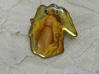 Guardian Angel Pin Metal Gold Tone Christian Religious