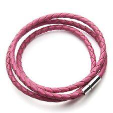 Geflochtenes Nick Jordan Leder Armband Magnet Band altrosa pink Lederband NEU