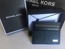 Michael Kors Men Jet Set Navy Blue Leather Signature Card Case Wallet Unisex