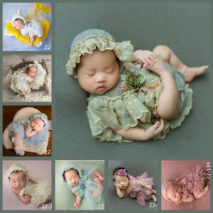 Newborn Studio Photo Shoot Photography Props Baby Girl Lace Dress Pillow Hat Set
