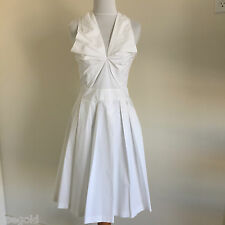 VIKTOR & ROLF WHITE COTTON STRETCH PLEATED V-NECK WITH BACK BOW DRESS 40