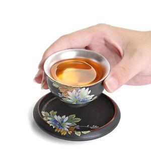 pure silver tea cup handmade cup coaster ceramic pottery kungfu tea cup floral