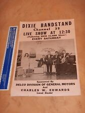 ORIGINAL EARLY 1960s  DIXIE BANDSTAND POSTER - EARLY ROCK & ROLL