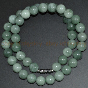 Natural A Green Emerald Jade 6/8/10mm Round Gemstone Beads Necklace 16-36''