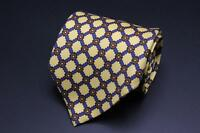 LUCIANO BARBERA Silk Tie. Yellow w Blue & Brown Floral. Made in Italy.