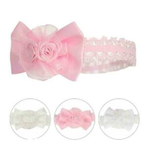 BNWT baby girls pink Ivory or white flower  flower and lace hairband