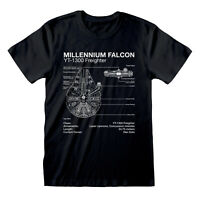 Official Star Wars Millennium Falcon T Shirt Blueprint Schematic NEW S M L XLXXL