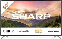 """SHARP SMART TV LED 50"""" 4K UHD ANDROID TV WIFI HDR DVB-T2/S2 LC-50BL3EA NERO"""
