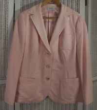 "AKRIS PUNTO Pink Blazer 42"" Bust UK16/EU46 Wool-Angora Boxy Jacket Fray Trim"