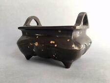 Antique Chinese Rectangular Gold Splash Bronze Censer, Xuande Mark