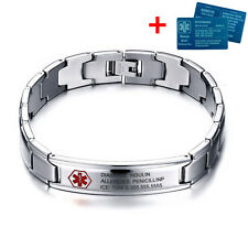 "8.7"" Custom Stainless Steel Medical Alert Emergency ID Bracelet & Aluminium Card"