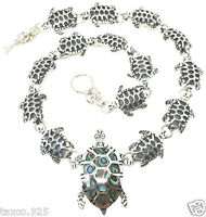 TAXCO MEXICAN 925 STERLING SILVER ABALONE TURTLE NECKLACE MEXICO