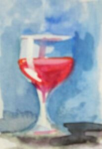 aceo Red wine glass miniature watercolor painitng collectible art Delilah