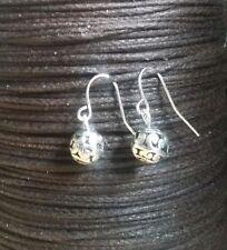 Silver Ball Hollow Orb Earrings Drop Dangle Hook Cute