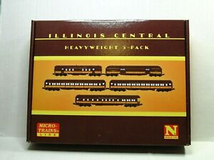 MICRO-TRAINS N SCALE HEAVYWEIGHT PASSENGER CAR 5 PACK ILLINOIS CENTRAL 99301790