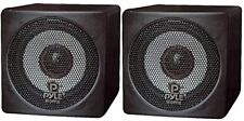 Sound Around Pyle Home 3-in 100-Watt Mini Cube Bookshelf Speakers - Pair (Black)
