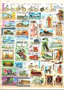 TIMBRES   lot de 50 timbres oblitérés thème transport.