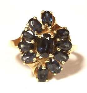 14k yellow gold oval sapphire cluster gemstone ring 5.7g estate vintage cocktail