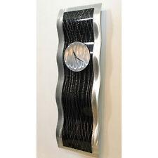 Black Silver Hanging Wall Clock - Modern Metal Wall Art Sculpture by Jon Allen