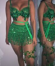 Womens Halloween Outfit Poison Ivy Bralette Set Adult Halloween Costume Set