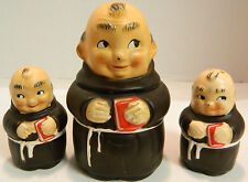 Vintage Apca Friar Monk w/ Red Bible Salt, Pepper Shaker & Honey Pot Excellent