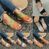 Womens Ladies Open Toe Slip On Flat Sandals Summer Boho Beach Casual Shoes Size