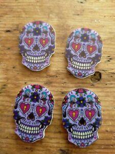 Sugar Skull Flat Plastic Cabochons-Purple