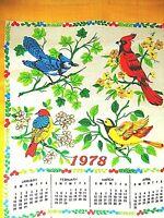 RED BIRD BLUE JAY CLOTH LINEN 1978 CALENDAR KITCHEN TEA TOWEL RETRO HANGING ART