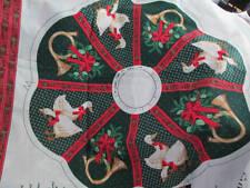 Christmas Gathering Wreath & Bow Fabric Panel- Hallmark- Geese/French Horns