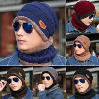 Men Women Winter Warm Knitted Hat Balaclavas Baggy Beanie Skull Cap Scarf Set