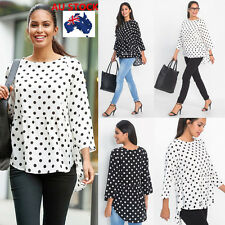 Women Summer Polka Long Sleeve Dots Top Blouse Loose Casual T Shirt AU size 6-18
