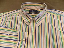 "RALPH LAUREN GOLF ""TILDEN"" SHIRT COLORFUL STRIPE BUTTON DOWN COLLAR SIZE L"