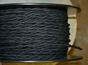 Black Twisted Cotton Covered Wire - Vintage Style Braided Cloth Lamp Cord, USA