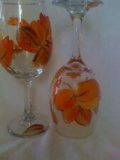 2 Hand-Painted Autumn Leaves Wine Glasses